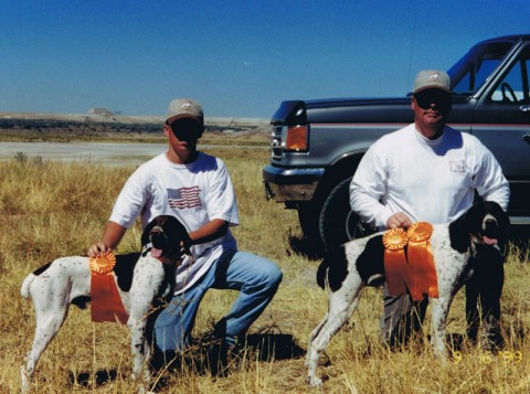 Fritz and Toby at a Hunt Test in 1999