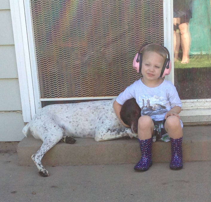 Kids and German Shorthaired Pointers